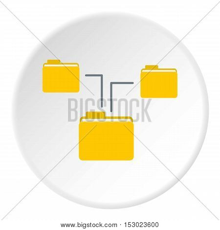 Folders on computer icon. Flat illustration of folders on computer vector icon for web