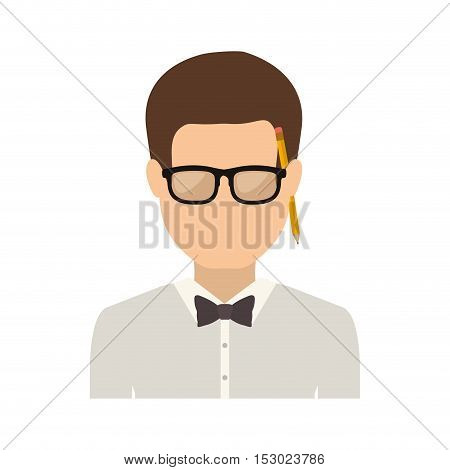 half body man with bowtie in shirt and glasses vector illustration