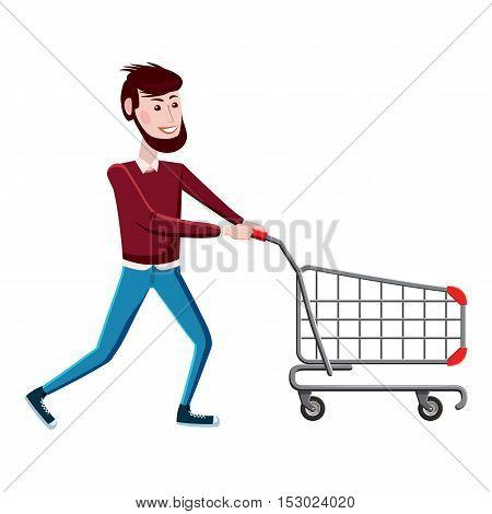 Man with shopping cart icon. Cartoon illustration of man with shopping cart vector icon for web