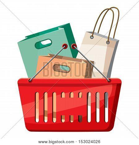 Basket of shopping bags icon. Cartoon illustration of basket of shopping bags vector icon for web
