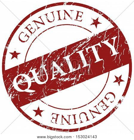 Dark red Genuine Quality grunge rubber stamp icon isolated on white background