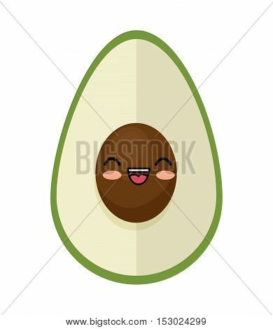 kawaii cute avocado funny icon vector illustration eps 10