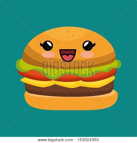 cute kawaii burger yummy fast food vector illustration eps 10