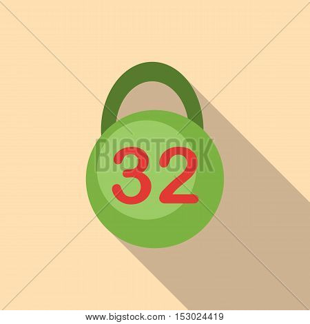 Weight thirty two pounds icon. Flat illustration of weight thirty two pounds vector icon for web