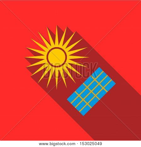 Solar panel icon. Flat illustration of solar panel vector icon for web