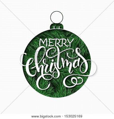vector paper sheet with clipped christmas ornament silhouette above fir-tree branches and hand lettering christmas greetings quote.