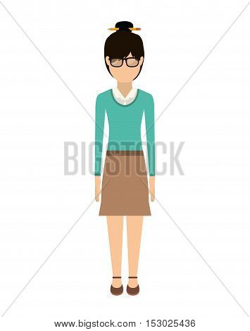 woman with collected hair and skirt vector illustration