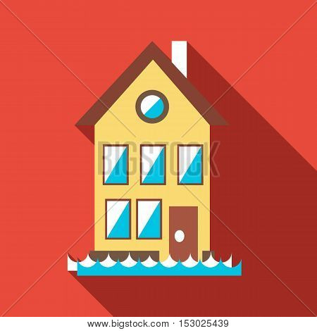 Flood house icon. Flat illustration of flood house vector icon for web