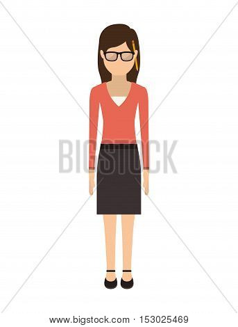 teen with medium hair and skirt vector illustration