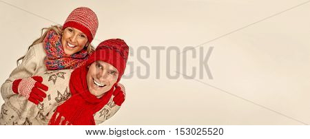 Couple in scarf and hat.