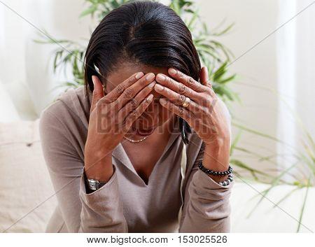 Woman migrain.