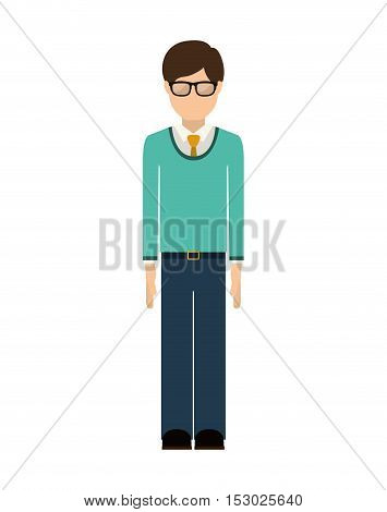 man wearing formal suit with tie and glasses vector illustration
