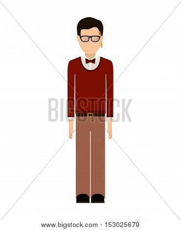 man wearing red jacket with bowtie and glasses vector illustration