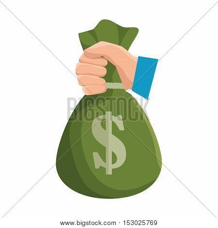 hand hold bag of money dollar icon vector illustration eps 10