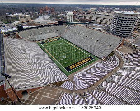 Iowa City, Iowa - April 2, 2016: Kinnink stadium in Iowa City, Iowa. Aerial view of kinnick Stadium