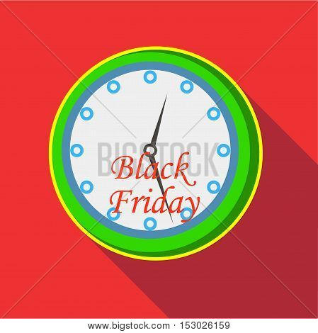 Hours and black friday icon. Flat illustration of hours and black friday vector icon for web