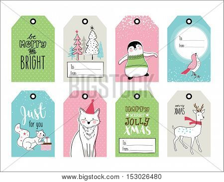 Set of hand drawn Christmas gift tags