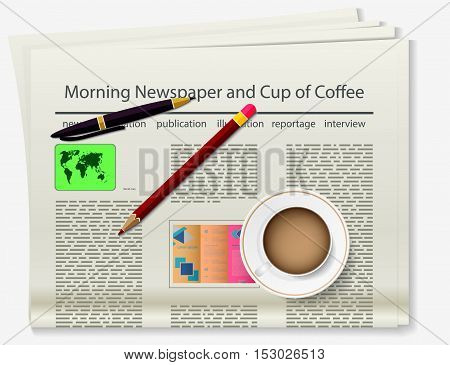 Booklet. Newspaper with coffee and pencils. Realistic image of the object. Vector illustration