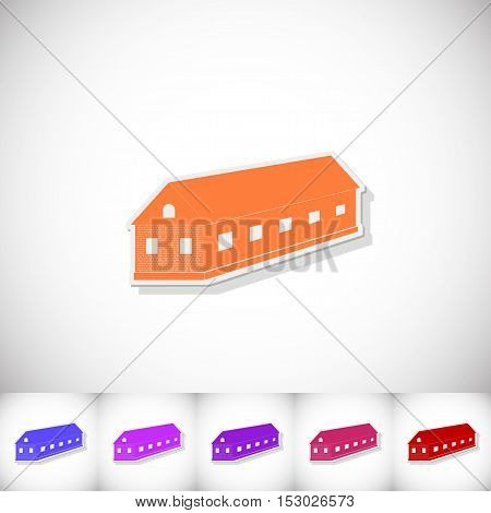 Farm. Flat sticker with shadow on white background. Vector illustration