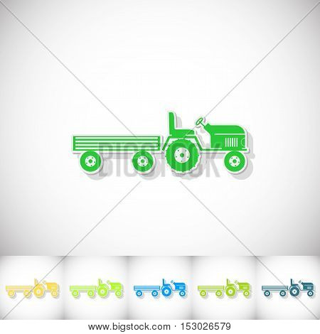 Tractor and large trailer. Flat sticker with shadow on white background. Vector illustration