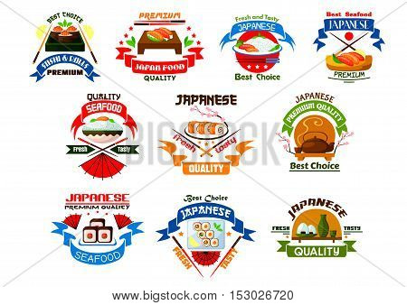 Japanese food and seafood restaurant emblems. Sushi, rolls, seafood, salmon and sashimi, wasabi and steamed rice, bamboo, chopsticks and tea. Oriental cuisine icon for menu design