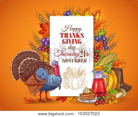Happy Thanksgiving Day greeting card, banner. Traditional november holiday celebration design with thanksgiving turkey bird, seasonal harvest vegetables, sweet pie. Thanksgiving invitation placard