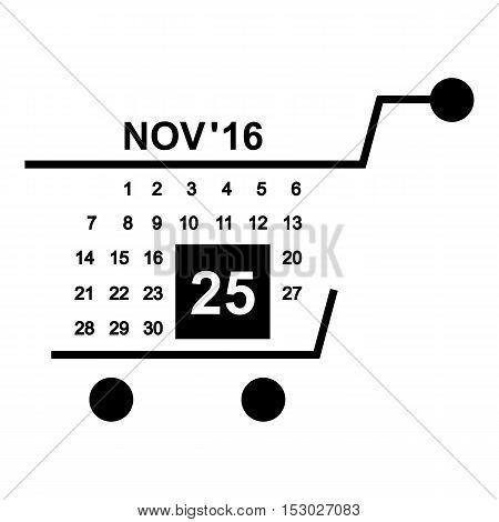 Basket calendar twenty fifth of november icon. Simple illustration of basket calendar twenty fifth of november vector icon for web