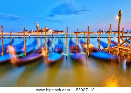Gondolas in Venice at night