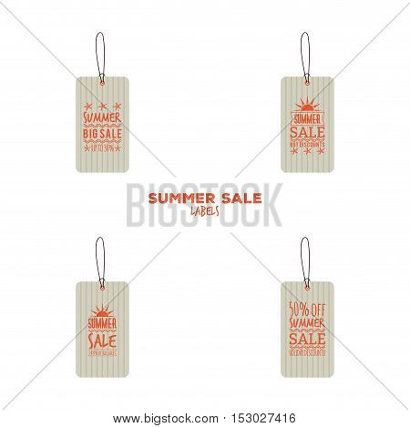 Abstract summer sale labels on a white background