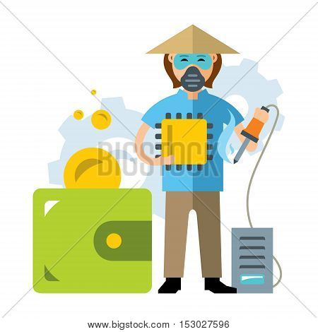 Worker with a soldering iron and a processor in hands. Purse with coins. Isolated on a white background