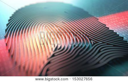 3d illustration of a laser scanner on a fingerprint embossed.
