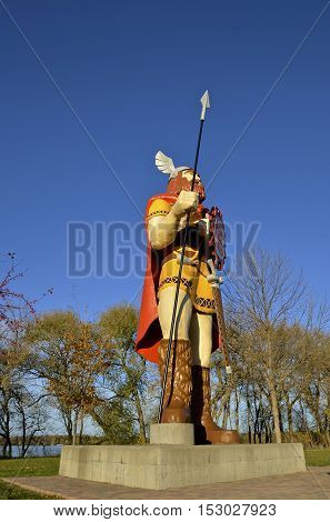 ALEXANDRIA, MINNESOTA, Oct 21, 2016: Big Ole, a Norseman, sculpted from fiberglass by  Gordon Schumaker is found in Central Park In Alexandria,  Minnesota.