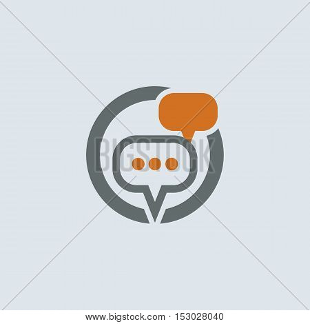 Gray-orange conversation and communication chat bubbles round vector icon