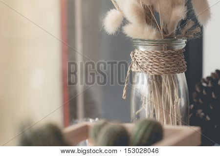 Dried flower in vase Bouquet. Dried flower for interior decoration. Interior object(vintage effectselective focus)