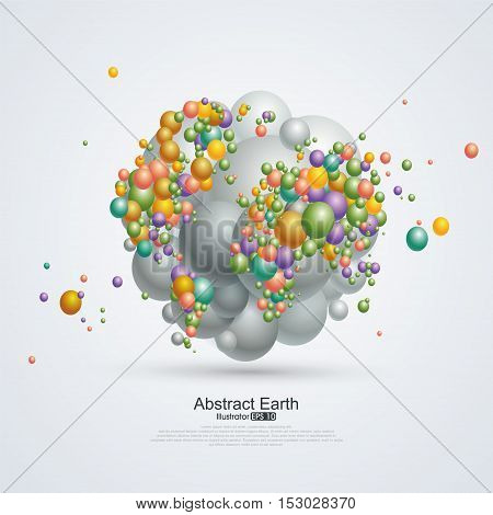 Abstract planet Composition of balloons,business concept illustration.