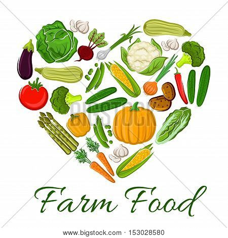 Farm Food vegetables icons in heart shape. Vegetarian products cauliflower, tomato and onion, potato and asparagus, leek and radish, potato and pumpkin, zucchini, pepper elements for grocery store