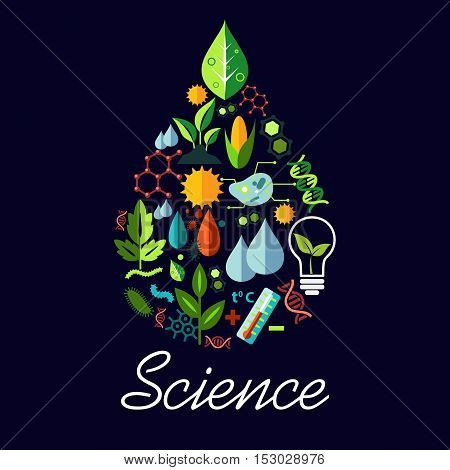 Science emblem in drop shape. Vector scientific and medical objects atom, sun, lamp bulb, bio green leaf, formula, molecule, water drops, bacteria, dna, thermometer