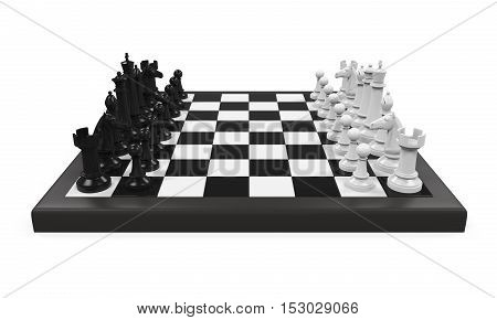 Chess Board with Chess Pieces isolated on white background. 3D render