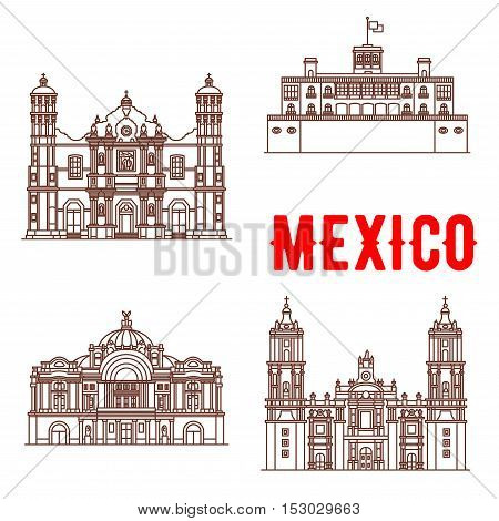 Mexican architecture vector icons. Our Lady of Guadalupe Basilica, Chapultepec Castle, Mexico Palace of Fine Arts, Metropolitan Cathedral. Vector thin line symbols of famous buildings for souvenirs, travel map guide