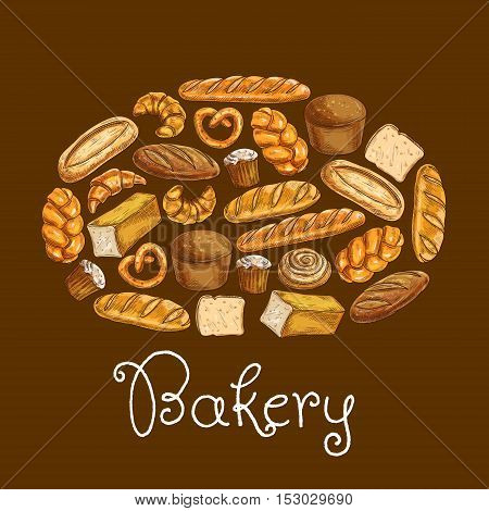 Bread sorts in shape of bread loaf. Bakery emblem. Vector icons of croissant, sliced bread and baguette, muffin and bun, loaf, pretzel and bagel, pie for patisserie, cafe, bakery, pastry shop design