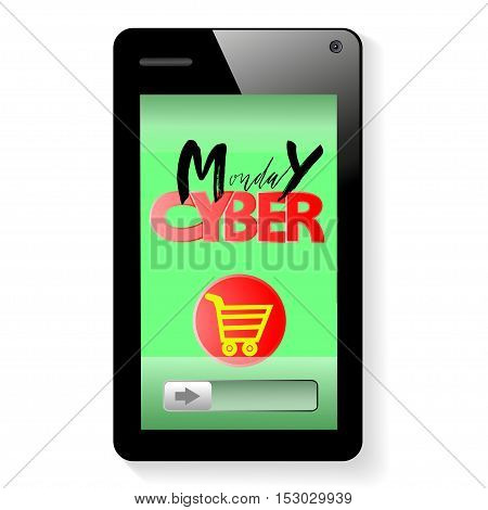 Vector background of online shoping. Add to cart on mobile smartphone device. Cyber Monday lettering