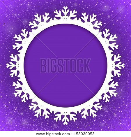 Vector Circle Frame Snowflake. Falling Snow. Violet Winter Frame Background. Winter Snowfall. Holidays New Year and Merry Christmas.