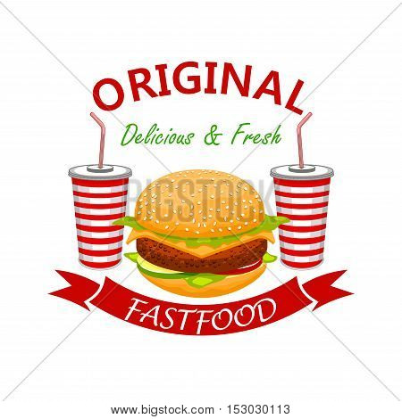 Tasty cheeseburger with beef cutlet and cold refreshing soda drinks. Fast food vector emblem. Fresh and yummy bun with meat cutlet, cheese and vegetables