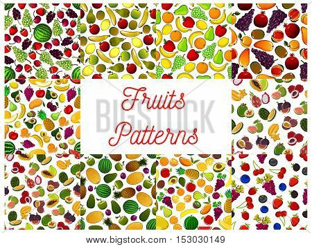 Patterns set of fresh ripe fruits and berries. Vector pattern of garden, forest, topical and exotic watermelon, strawberry and pomegranate, cherry and orange, lemon, figs and grape, pear, apple and plum, avocado and grapefruit fruits