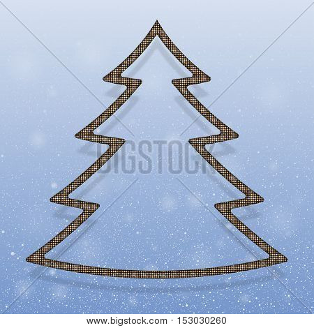 Falling snow vector. Winter snowfall hand drawn spray texture. Gold sequins in the form christmas tree. Mosaic, sequins, glitter, sparkle, stars. Christmas tree. Happy New Year and Merry Christmas.