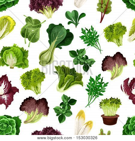 Salad greens and leafy vegetables pattern. Vegetarian fresh green sheaf of arugula, iceberg lettuce, cabbage, chard, chicory, escarole, kale, radicchio, spinach. Kitchen decoration background