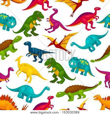 Cartoon toy dinosaurs children seamless pattern. Vector colorful and cute icons of t-rex, tyrannosaurus, pterosaur, pterodactyl toy characters. Decoration design element for kindergarten, kids