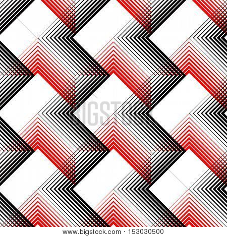 Seamless Stripe and Line Pattern. Vector Black and Red Geometric Texture