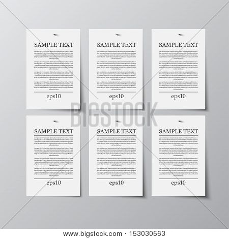 Set of paper rectangle banner template for business design, infographics. Vector illustration eps10. Mock up. Mockup. Web graphic for your design. A4. Six.