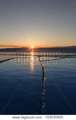 Wide Crack In The Ice Of Lake Baikal
